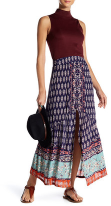 Angie Printed Button Maxi Skirt $44 thestylecure.com