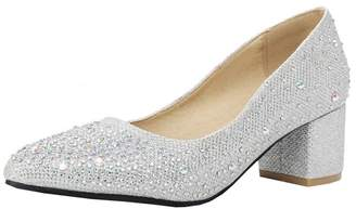 642669f0331 Agodor Womens Mid Heel Glitter Wedding Pumps Elegant Closed Toe Slip on Bride  Shoes