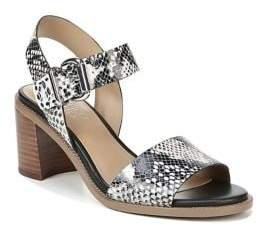 Franco Sarto Havana Snakeskin-Print Leather Heeled Sandals