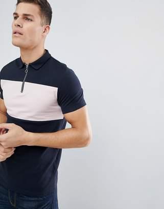 Asos DESIGN Pique Polo Shirt With Zip Neck And Contrast Panel