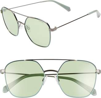 Polaroid Eyewear 56mm Polarized Square Aviator Sunglasses