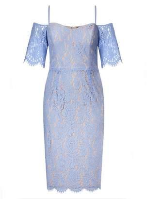 Evans **City Chic Blue Lace Dress
