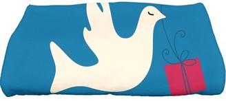 """E By Design Simply Daisy 28"""" x 58"""" Peace Dove Animal Print Bath Towel"""