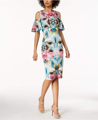 Jax Abstract-Print Cold-Shoulder Midi Dress