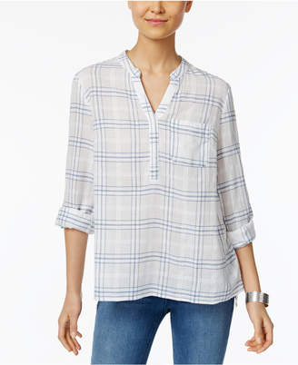 Style&Co. Style & Co Cotton Windowpane-Plaid Top, Created for Macy's