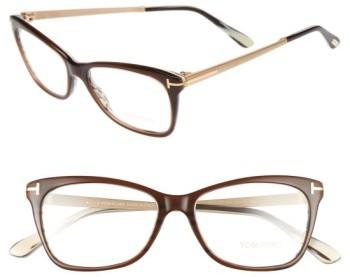 Women's Tom Ford 52Mm Cat Eye Optical Glasses - Dark Brown
