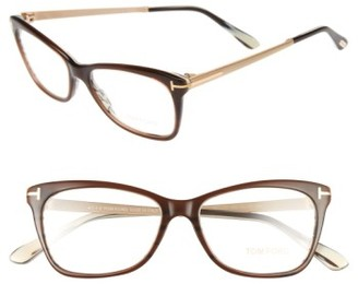Women's Tom Ford 52Mm Cat Eye Optical Glasses - Dark Brown $430 thestylecure.com