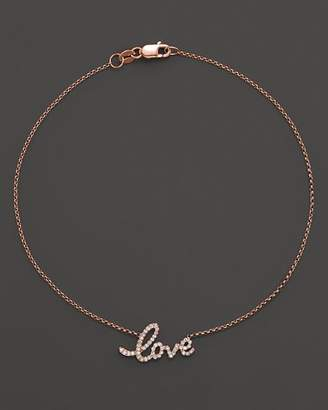 KC Designs Diamond Love Ankle Bracelet in 14K Rose Gold, .16 ct. t.w.