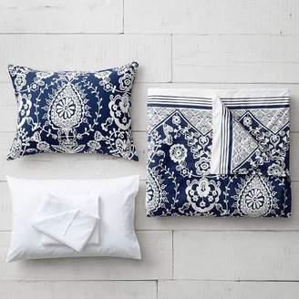 Pottery Barn Teen Natalia Duvet Bedding Set with Duvet Cover, Duvet Insert, Sham, Sheet Set + Pillow Inserts, XL Twin, Royal Navy