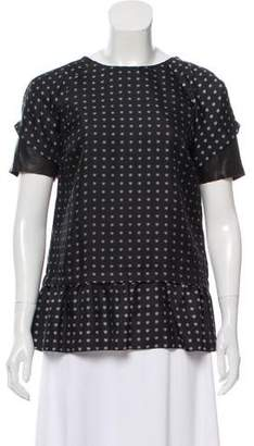 Thakoon Leather-Accented Silk Top