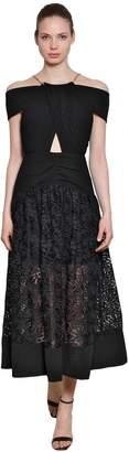 Self-Portrait Off-The-Shoulder Crepe & Lace Midi Dress