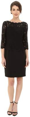 Adrianna Papell Bateau Neck Long Sleeve Lace Overlay Women's Dress