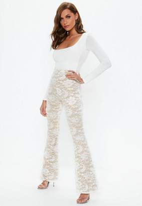 Missguided White Lace Flared Leg pants