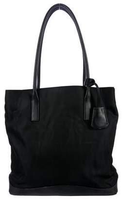 Prada Leather-Trimmed Tessuto Tote