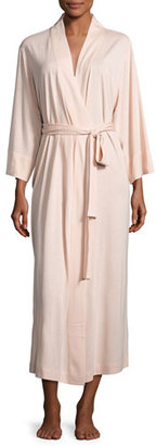 Natori Shangri-La Jersey Long Robe, Dusty Deco Pink $98 thestylecure.com