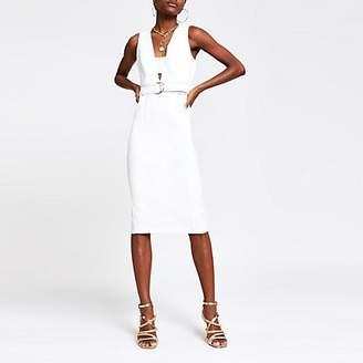 River Island White belted bodycon midi dress