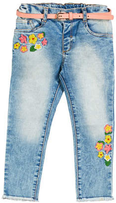 Mayoral Flower Embroidered Faded Denim Jeans, Size 12-36 Months