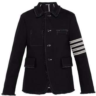 Thom Browne Unconstructed Fringe Trim Denim Jacket - Mens - Black