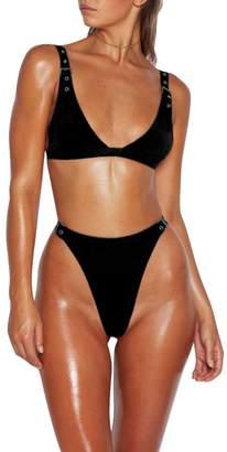 Biback Bikini Set for Women High Waisted Thong Bikini Bottom with Buttonholes Adjustable Bikini Tops