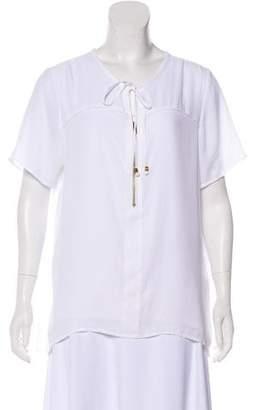 Michael Kors Short Sleeve Zip-Up Top