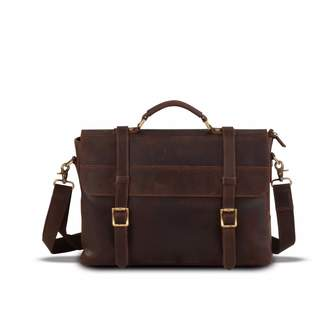 EAZO - Leather Laptop Bag Dark Brown