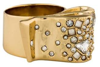 Alexis Bittar Crystal Encrusted Ribbon Cocktail Ring