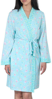 Jasmine Rose Two-Piece Self-Tie Robe and Printed Nightgown Set