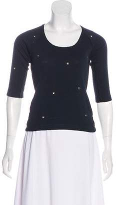 Sonia Rykiel Grommet Three-Quarter Sleeve Top