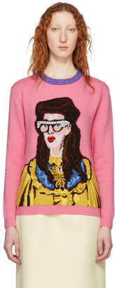Gucci Pink Jacquard Woman Sweater