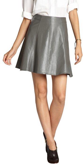 Wyatt steel grey faux leather flared skater skirt
