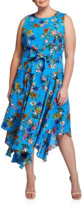 Calvin Klein Plus Size Floral Handkerchief Midi Dress