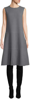 Lafayette 148 New York Colby Sleeveless Wool Crepe Shift Dress w/ Chain Detail