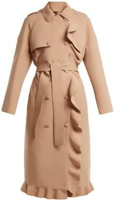 MSGM Ruffle-trimmed bonded-crepe coat