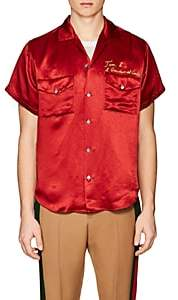 Gucci Men's Chain-Stitched Satin Shirt - Red
