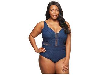 Becca by Rebecca Virtue Plus Size Color Play Plunge One-Size Women's Swimsuits One Piece