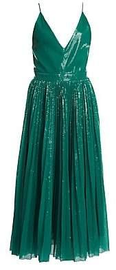 MSGM Women's Pleated Sequin Midi Flare Dress