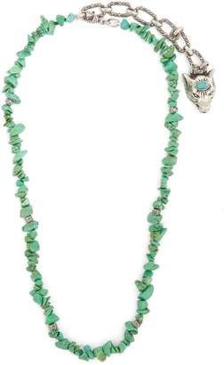 Gucci Turquoise stone-embellished silver necklace