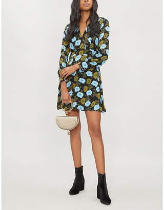 Sandro Floral-print crepe dress