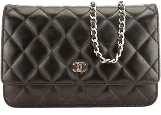 Chanel Black Quilted Lambskin Leather Classic Wallet On Chain WOC Bag (Pre Owned)
