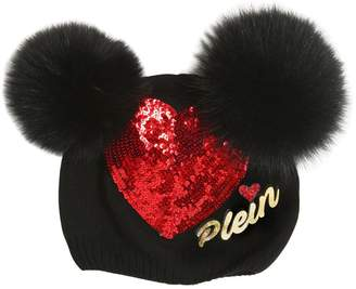 8b4b7c3b5fa Philipp Plein Junior Wool Hat W  Fox Fur Pompoms