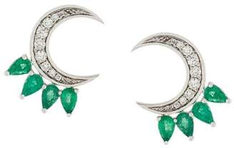 Gisele For Eshvi 18kt gold, diamond and emerald moon shape earrings