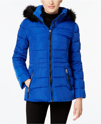 Calvin Klein Water-Resistant Hooded Faux-Fur-Trim Puffer Coat $250 thestylecure.com
