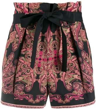 Alberta Ferretti paisley tie waist shorts