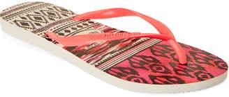 Havaianas White & Coral Slim Tribal Flip Flops