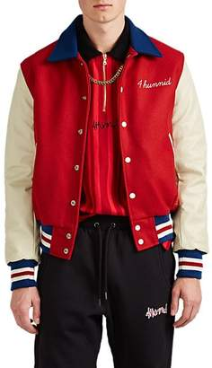 4HUNNID Men's Wool-Blend & Leather Varsity Jacket - Red