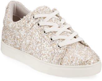Neiman Marcus Trina Metallic Textured Lace-Up Sneakers