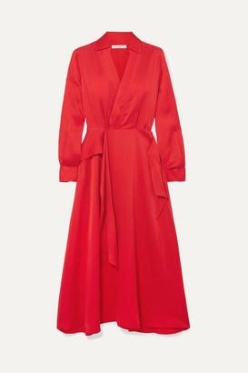 Equipment Vivienne Wrap-effect Silk-blend Dress - Red