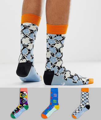 Happy Socks X Andy Warhol 3 pack socks gift box