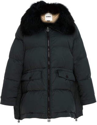 Yves Salomon Paris Fox Fur-Trimmed Quilted Shell Puffer Coat