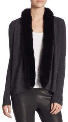 Saks Fifth Avenue COLLECTION Fox Fur and Cashmere Open Cardigan